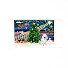 XmasMagic/Eskimo Spitz Aluminum License Plate