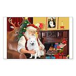 Santa's Eskimo Spitz Sticker (Rectangle 50 pk)