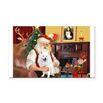 Santa's Eskimo Spitz Rectangle Car Magnet