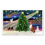 XmasMagic/Basenji #2 Sticker (Rectangle 10 pk)