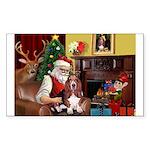 Santa's Basset Hound Sticker (Rectangle 10 pk)