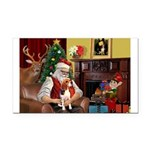 Santa's Beagle Rectangle Car Magnet