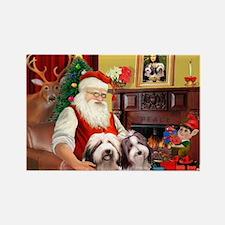 Santa's Beardie pair Rectangle Magnet (10 pack)