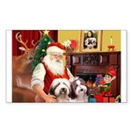 Santa's Beardie pair Sticker (Rectangle 10 pk)