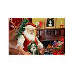 Santa's Bearded Collie Rectangle Magnet