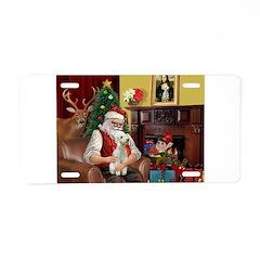 Santa's Bedlington Aluminum License Plate