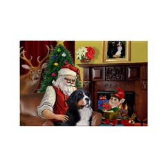 Santa's Home & Bernese Rectangle Magnet