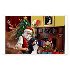 Santa's Home & Bernese Sticker (Rectangle)
