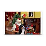 Santa's Home & Bernese Rectangle Car Magnet