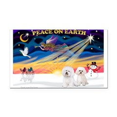 XmasSunrise/2 Bichons Rectangle Car Magnet