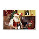 Santa's Border Collie Rectangle Car Magnet