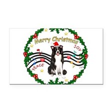 XmasMusic1MC/Border Collie Rectangle Car Magnet
