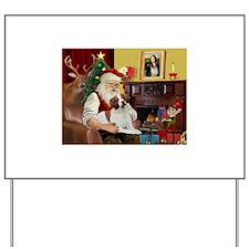 Santa & His Brittany Yard Sign