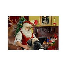 Santa's Bull Mastiff Rectangle Magnet