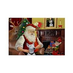 Santa's Bull Terrier Rectangle Magnet (10 pack)