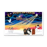 XmasSunrise/3 Cavaliers Rectangle Car Magnet