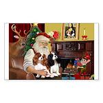 Santa's 2 Cavaliers Sticker (Rectangle)