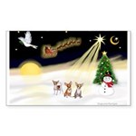 Night Flight/3 Chihuahuas Sticker (Rectangle 50 pk