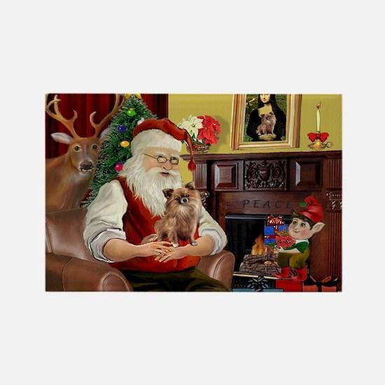 Santa's Chihuahua Rectangle Magnet