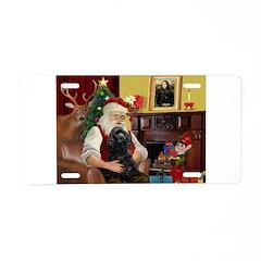 Santa's Black Cocker Aluminum License Plate
