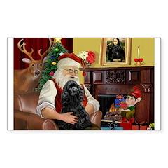 Santa's Black Cocker Sticker (Rectangle 50 pk)