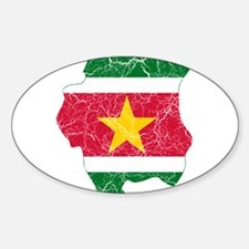 Suriname Flag And Map Sticker (Oval)