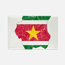 Suriname Flag And Map Rectangle Magnet
