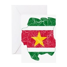 Suriname Flag And Map Greeting Card