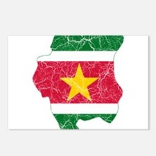Suriname Flag And Map Postcards (Package of 8)