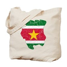 Suriname Flag And Map Tote Bag