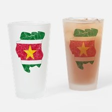 Suriname Flag And Map Drinking Glass