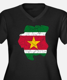 Suriname Flag And Map Women's Plus Size V-Neck Dar
