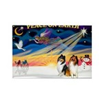 XmasSunrise/2 Collies Rectangle Magnet (10 pack)