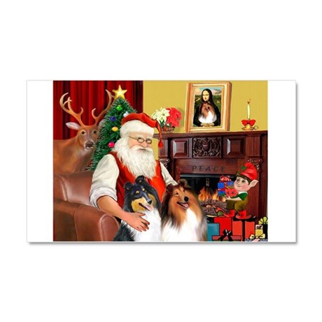 Santa's Collie pair Car Magnet 20 x 12