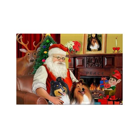 Santa's Collie pair Rectangle Magnet (10 pack)