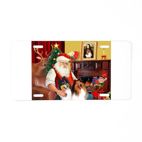 Santa's Collie pair Aluminum License Plate