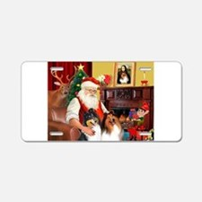 Santa's Collie pair Aluminum License Plate