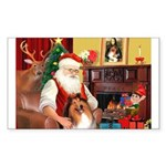 Santa's Collie Sticker (Rectangle)
