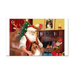 Santa's Collie Rectangle Car Magnet