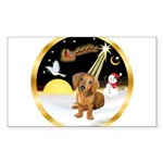 Night Flight/Dachshund #13 Sticker (Rectangle)
