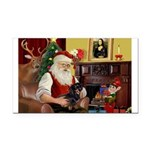 Santa's Dachshund (bt) Rectangle Car Magnet