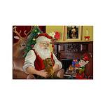 Santa's Dachshund (Br) Rectangle Magnet (10 pack)