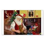 Santa's Dachshund (Br) Sticker (Rectangle 50 pk)