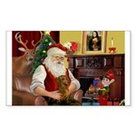 Santa's Dachshund (Br) Sticker (Rectangle)
