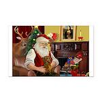 Santa's Dachshund (Br) Rectangle Car Magnet