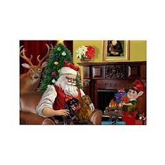 Santa/Two Dachshunds (BB) Rectangle Magnet