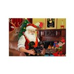 Santa's 2 Doxies (blk) Rectangle Magnet (10 pack)