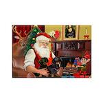 Santa's 2 Doxies (blk) Rectangle Magnet