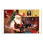 Santa's 2 Doxies (blk) Sticker (Rectangle 50 pk)
