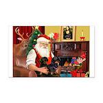 Santa's 2 Doxies (blk) Rectangle Car Magnet